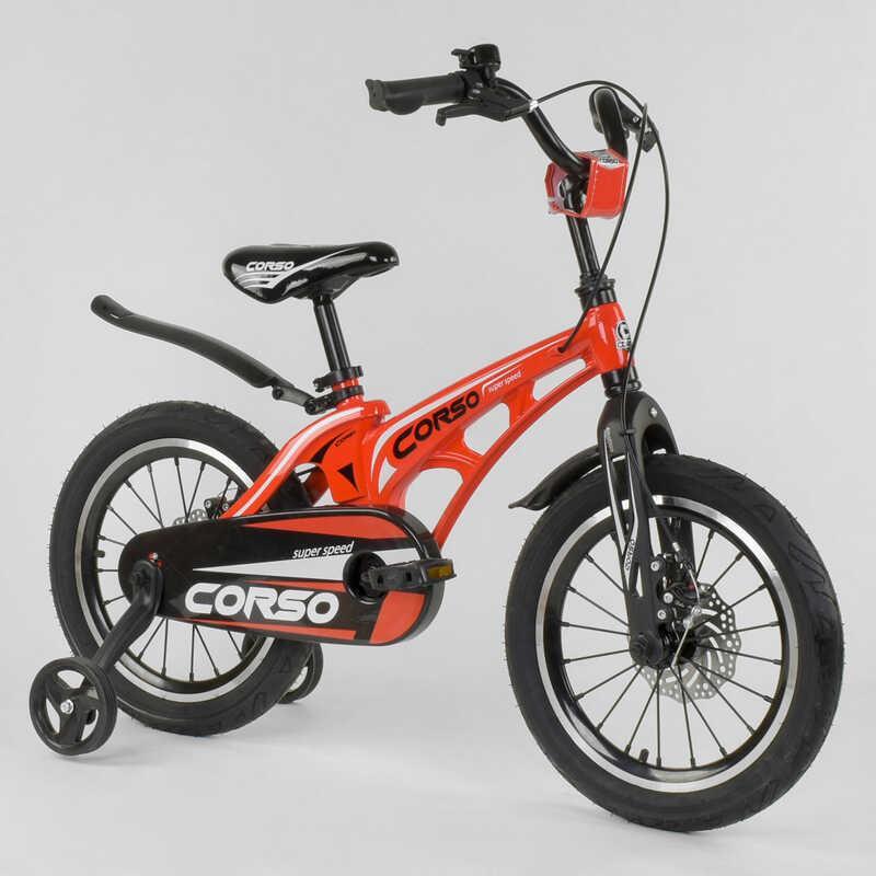 """Велосипед 16"""" дюймов 2-х колёсный  """"CORSO"""" MG-16 Y 205 (1) КРАСНЫЙ, МАГНИЕВАЯ РАМА, АЛЮМИНИЕВЫЕ ДВОЙНЫЕ ДИСКИ"""