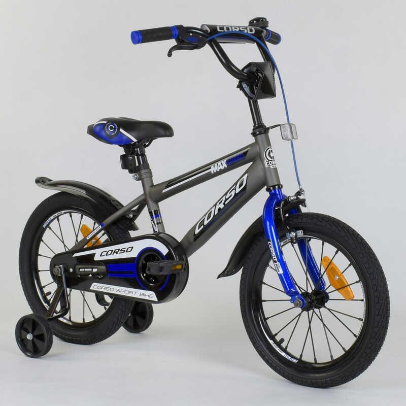 """Велосипед 16"""" дюймов 2-х колёсный """"CORSO"""" ST - 7910 (1) СЕРЫЙ, СТАЛЬНАЯ РАМА, СТАЛЬНЫЕ ПРОТИВОУДАРНЫЕ ДИСКИ С"""