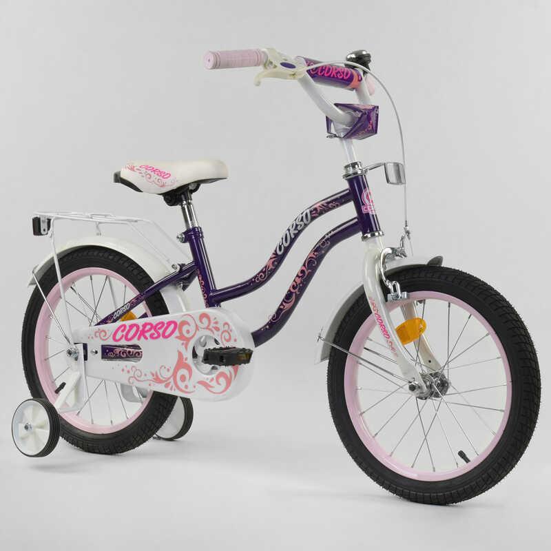 """Велосипед 16"""" дюймов 2-х колёсный """"CORSO"""" Т-21255 (1) ФИОЛЕТОВЫЙ, ручной тормоз, звоночек, доп. колеса,"""