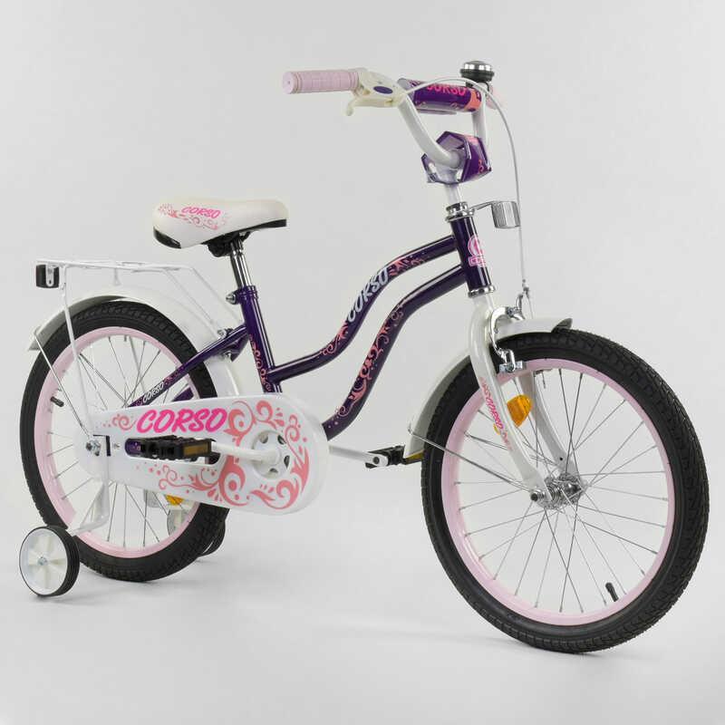 """Велосипед 18"""" дюймов 2-х колёсный """"CORSO"""" Т-85234 (1) ФИОЛЕТОВЫЙ, ручной тормоз, звоночек, доп. колеса,"""