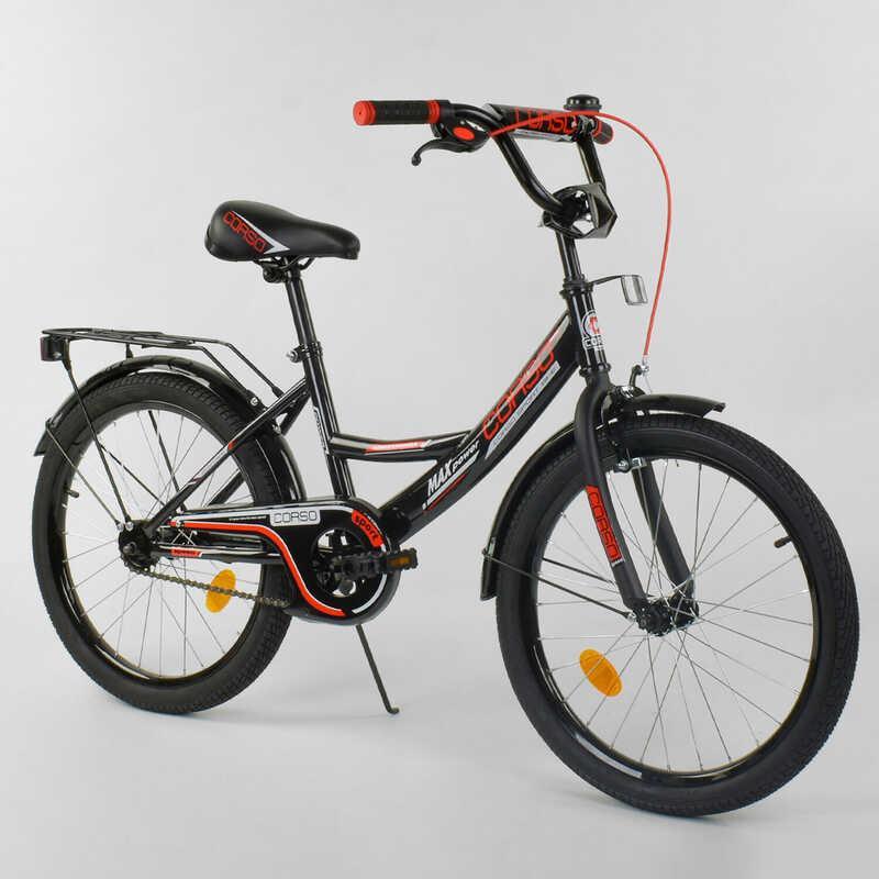 """Велосипед 20"""" дюймов 2-х колёсный  """"CORSO"""" CL-20 Y 3230 (1)ЧЕРНЫЙ, ручной тормоз, звоночек, СОБРАННЫЙ НА 75% в"""
