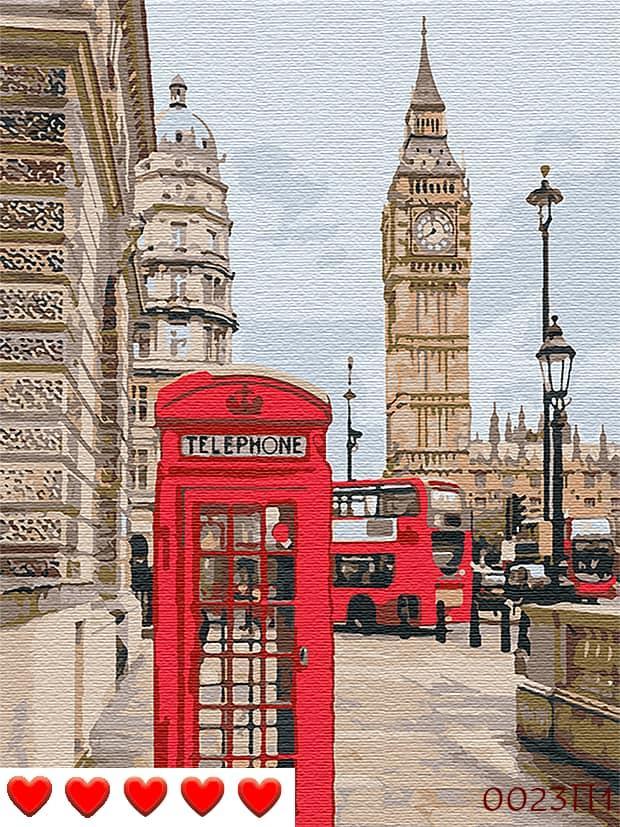 Картина по номерам (рисование по цифрам, живопись) 0023П1 (Лондон)