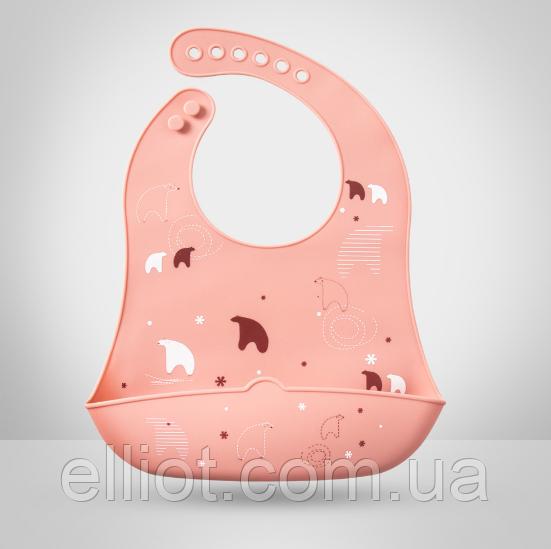 Слюнявчик силиконовый с карманом Полярный Медведь Розовый