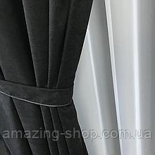 Комплект штор Petek на люверсах | Штори на люверсах | Шторы с подхватами | Черные шторы с подхватами |