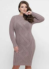 Женское вязанное теплое платье