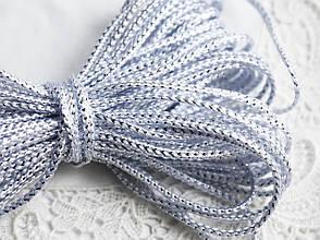 Шнур плетеный с люрексом, 2 мм, 1 м, серебристый \ серый
