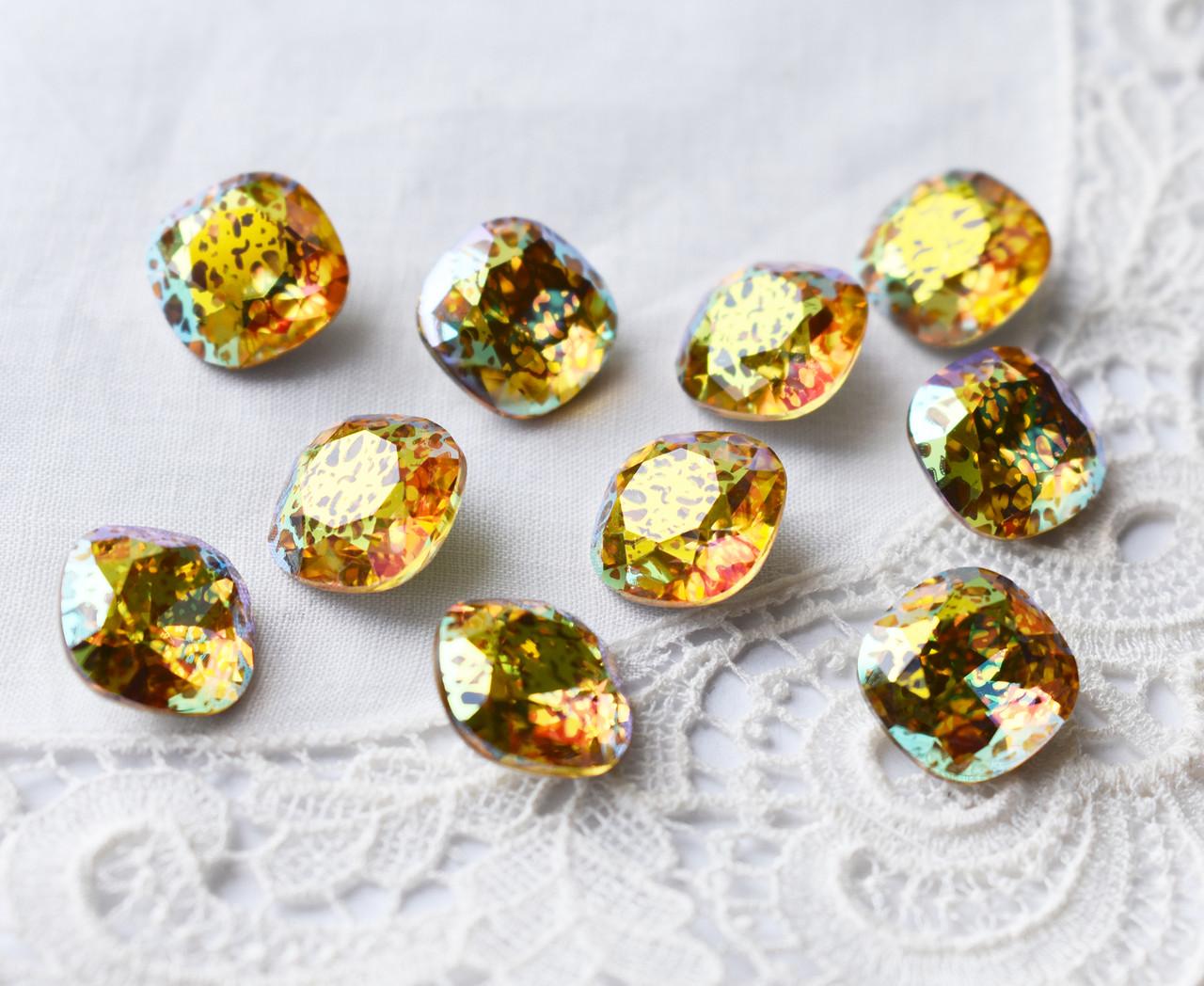 Стрази скляні К9 Кушон з патиною, 12мм, оранжево-зелений
