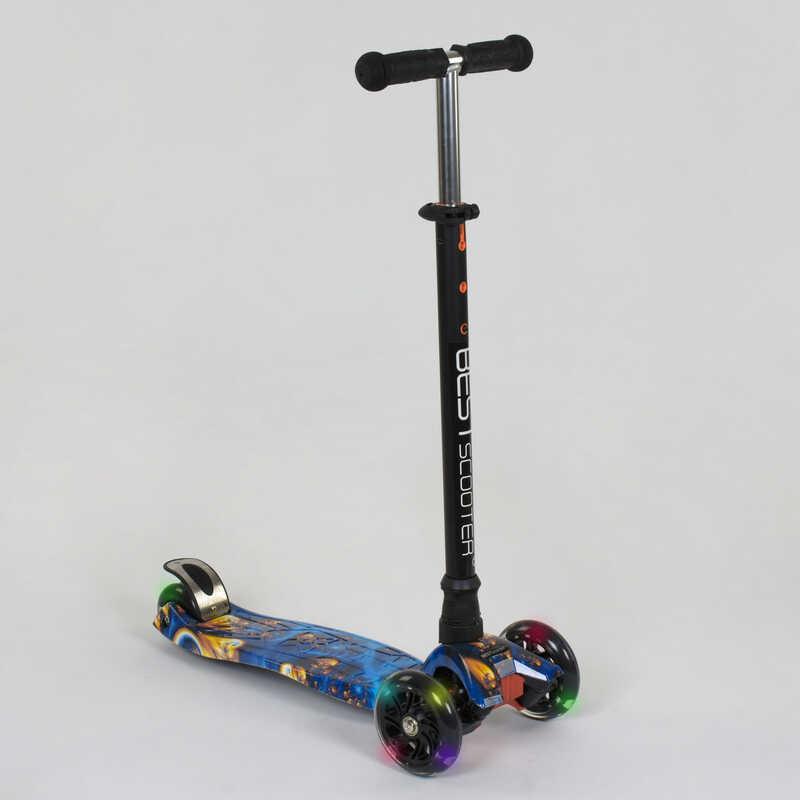 """Самокат А 25536 /779-1334 MAXI """"Best Scooter"""" (1) пластмассовый, 4 колеса PU, СВЕТ, трубка руля алюминиевая,"""