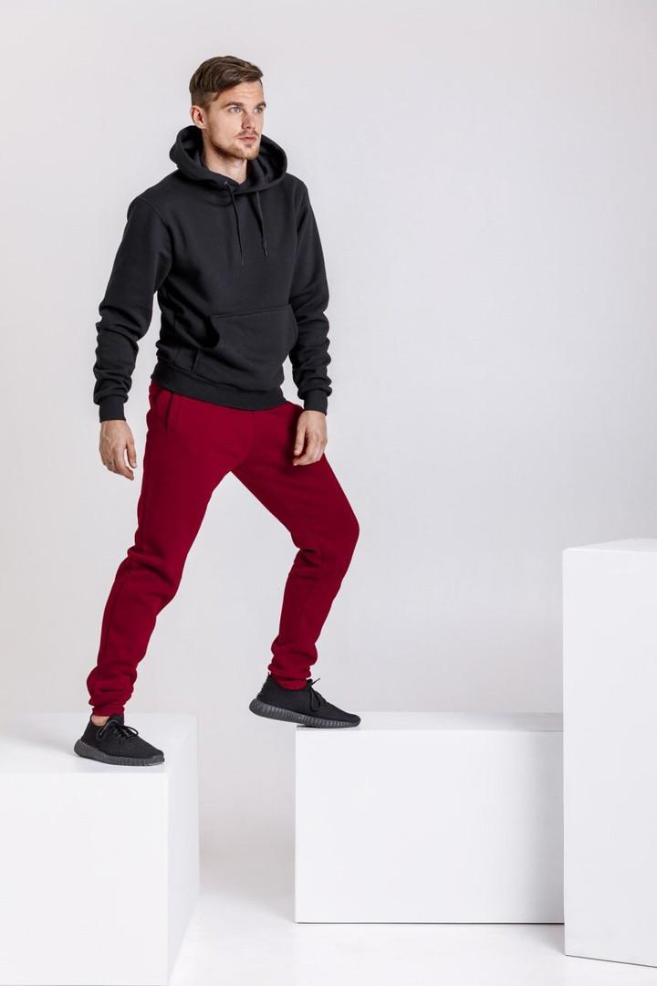 Спортивный костюм мужской Good Idea XXL Черный с бордовым (MD00347)