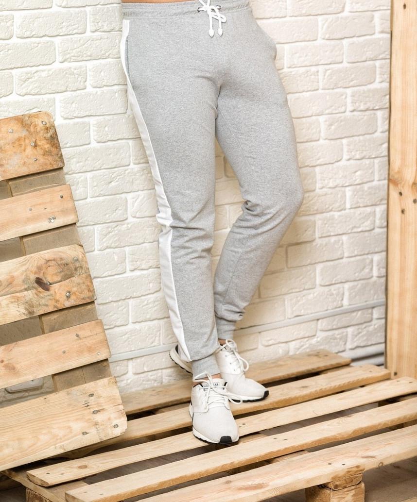Спортивные брюки c лампасами мужские Good Idea L Серые (MD00147)
