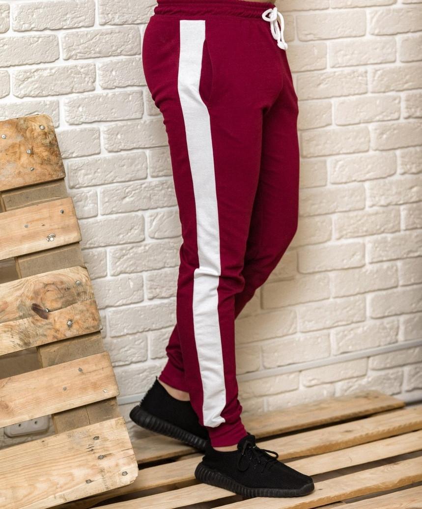 Спортивные брюки c лампасами мужские Good Idea XL Бордовый (MD00153)