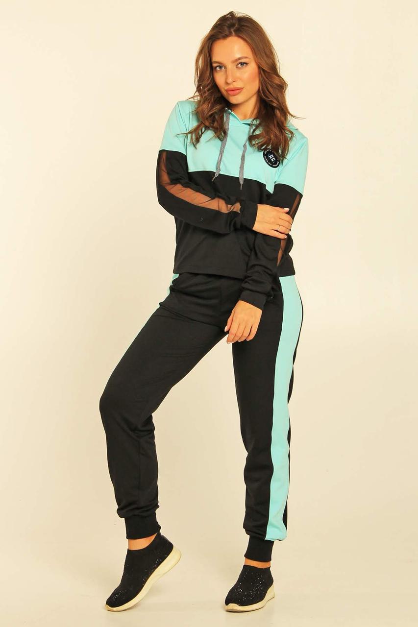 Спортивный костюм Moonlight XS Черный с голубым (Nuri1)