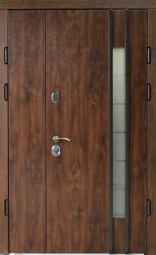 Полуторные металлические входные двери Редфорт Авеню 2 со стеклом  на улицу 120