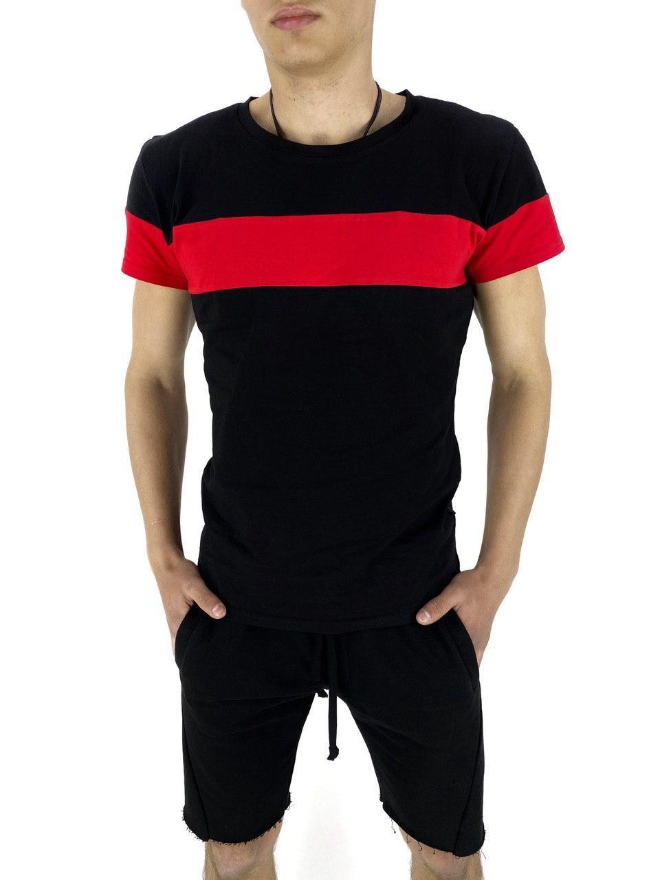 Комплект Футболка и шорты Intruder Color Stripe S Черный с красным (Kom 1589369461/ 1)