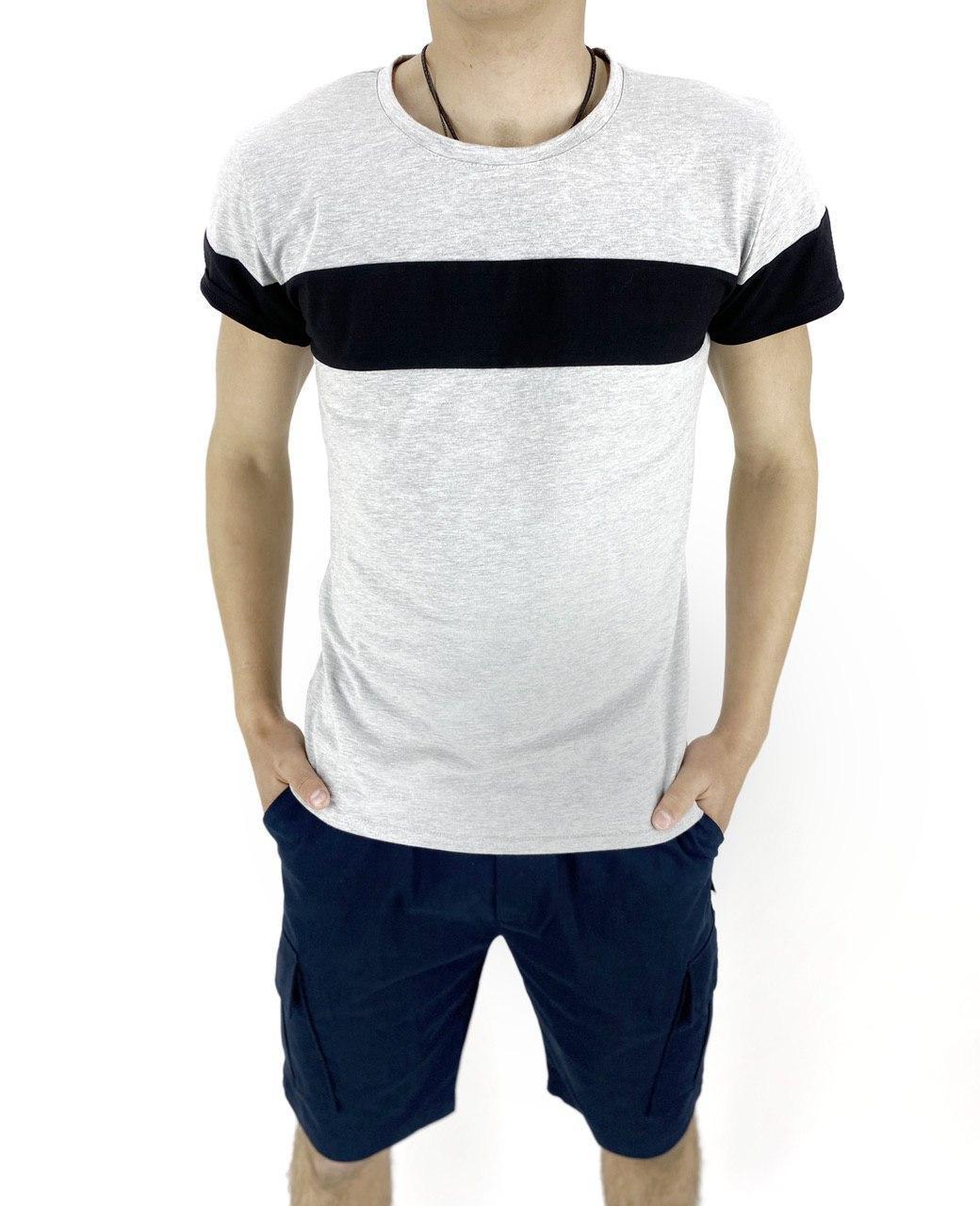 Комплект Футболка Intruder Color Stripe шорты Miami L Темно-синий с серым (Kom 1589370633/ 3)