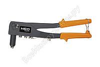 Заклепочник для заклепок стальных и алюминиевых 2.4, 3.2, 4.0, 4.8 мм NEO