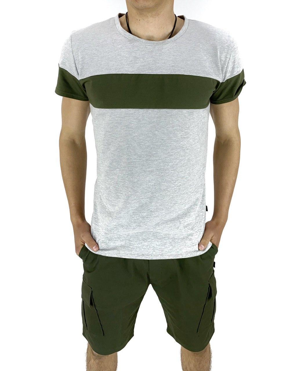 Комплект Футболка Intruder Color Stripe шорты Miami XL Хаки с серым (Kom 15893762/ 5)