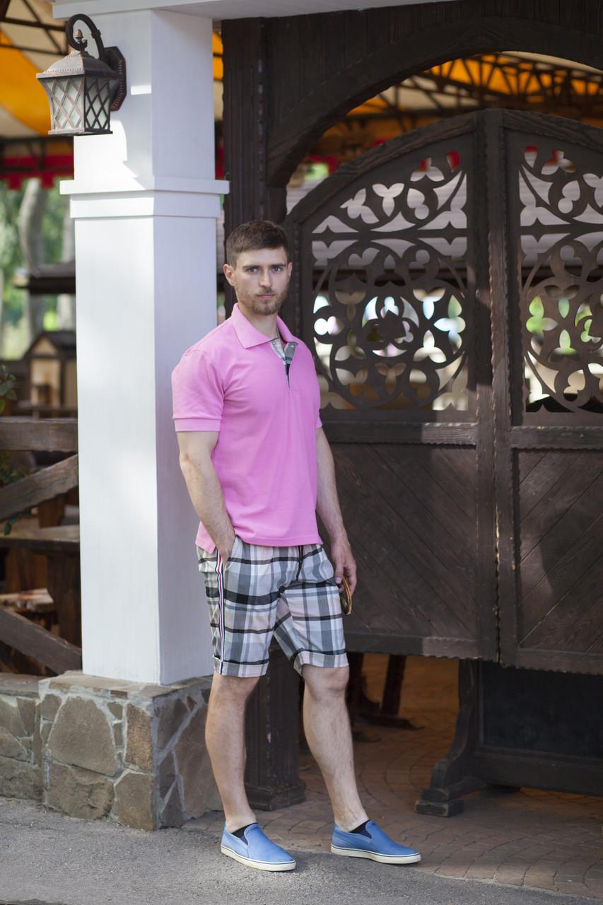 Комплект Pivnichnazemlya футболка и шорты в клетку M Розовый (0038M)