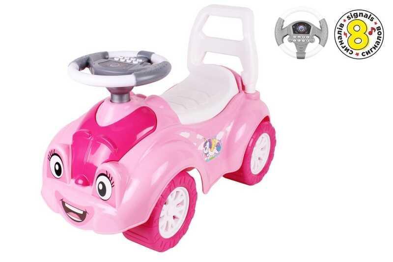"""Гр Беби машина 6658 (1) цвет розовый  """"ТЕХНОК"""" музыкальный руль, 8 сигналов, в коробке"""