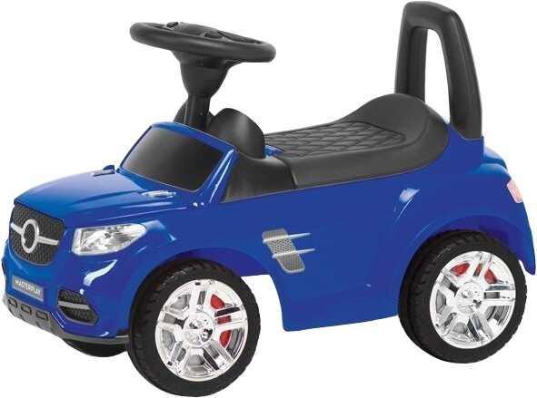 Гр Каталка-толокар 2-002-DB - цвет синий (1) открывается капот, сиденье, светятся фары, муз.руль