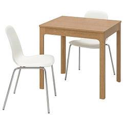 IKEA  ЕКЕДАЛЕН / LEIFARNE ЛЕЙФАРНЕ (192.213.94) Стіл+2 стільці, дуб/білий 80/120 см