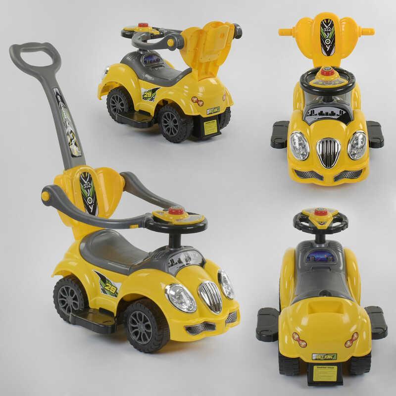 Машина-толокар JOY 09-304 Y (1) цвет ЖЕЛТЫЙ, родительская ручка, 5 мелодий, съемный защитный бампер, багажник