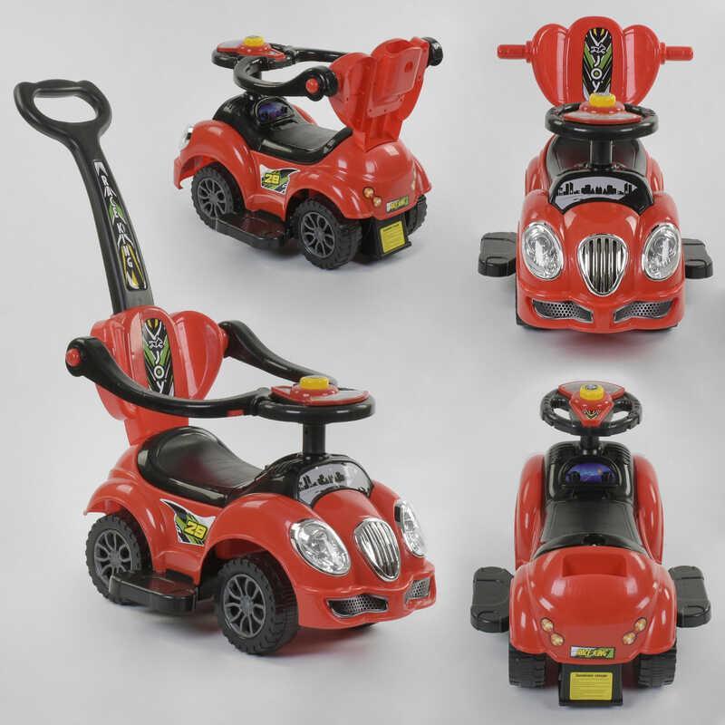 Машина-толокар JOY 09-506 R (1) цвет КРАСНЫЙ, родительская ручка, 5 мелодий, съемный защитный бампер, багажник