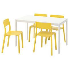 IKEA MELLTORP МЕЛЬТОРП / JANINGE ЯНІНГЕ (391.614.88) Стіл+4 стільці 125 см