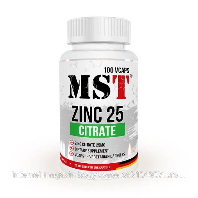 MST Sport Nutrition, Микроэлемент Zinc Citrate 25mg, 100 капсул