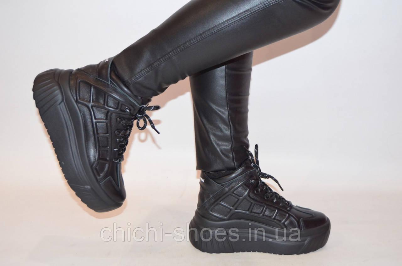Ботинки женские зимние чёрные кожаные BV 59-01