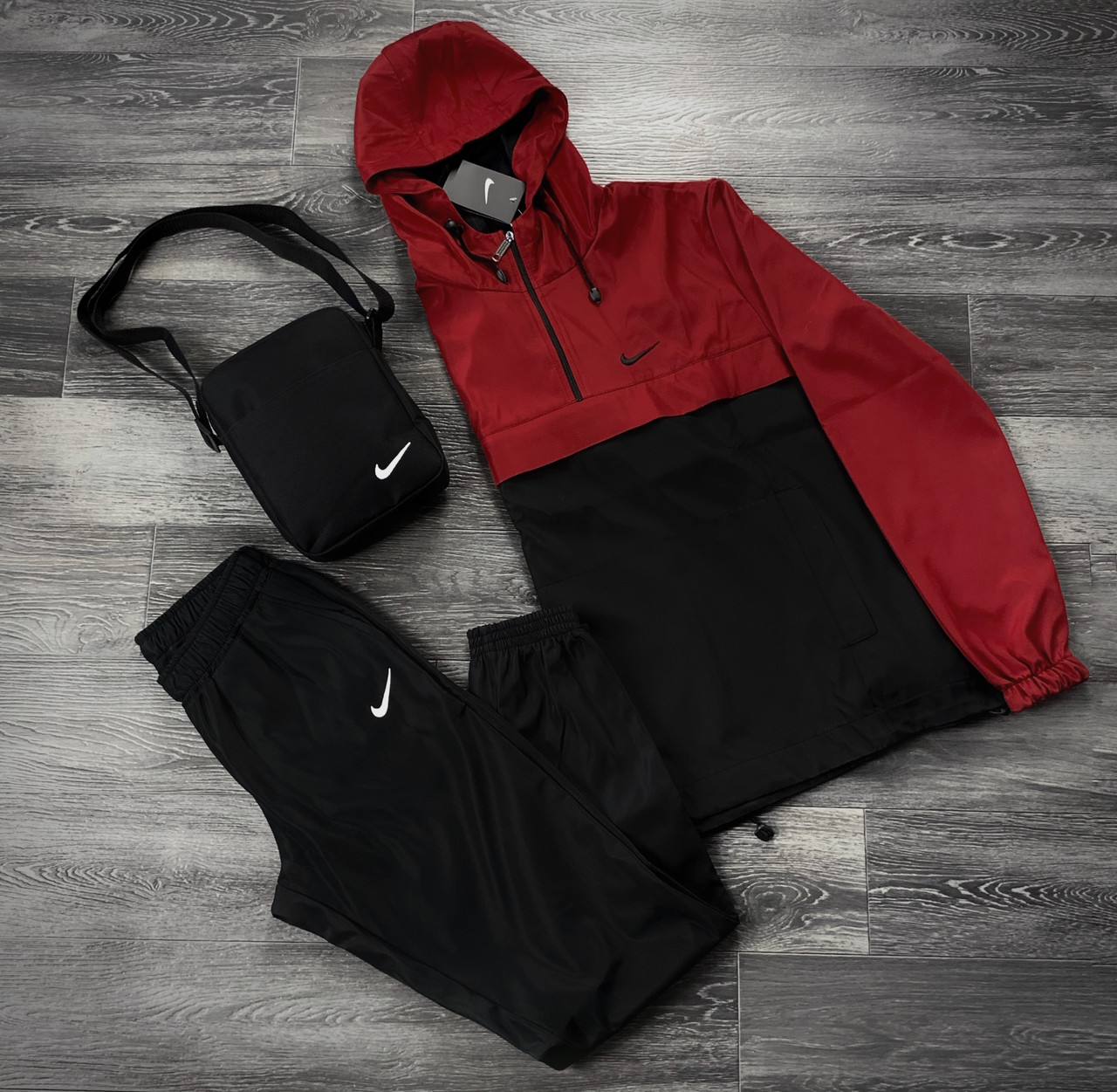 Комплект Анорак + Штаны President Nike Реплика S Красно-черный (1586951792)