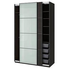 IKEA PAX ПАКС / MEHAMN/SEKKEN МЕХАМН (393.307.35)Гардероб, комбінація - чорно-коричневий/матове скло