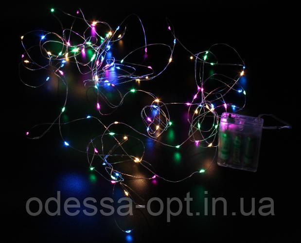 Xmas гирлянд 200 Led (Copper) на медной проволоке (Капля росы) M Мультицветная от батареек
