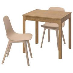 IKEA EKEDALEN ЕКЕДАЛЕН / ODGER ОДГЕР (492.241.01) Стіл+2 стільці - дуб/білий бежевий