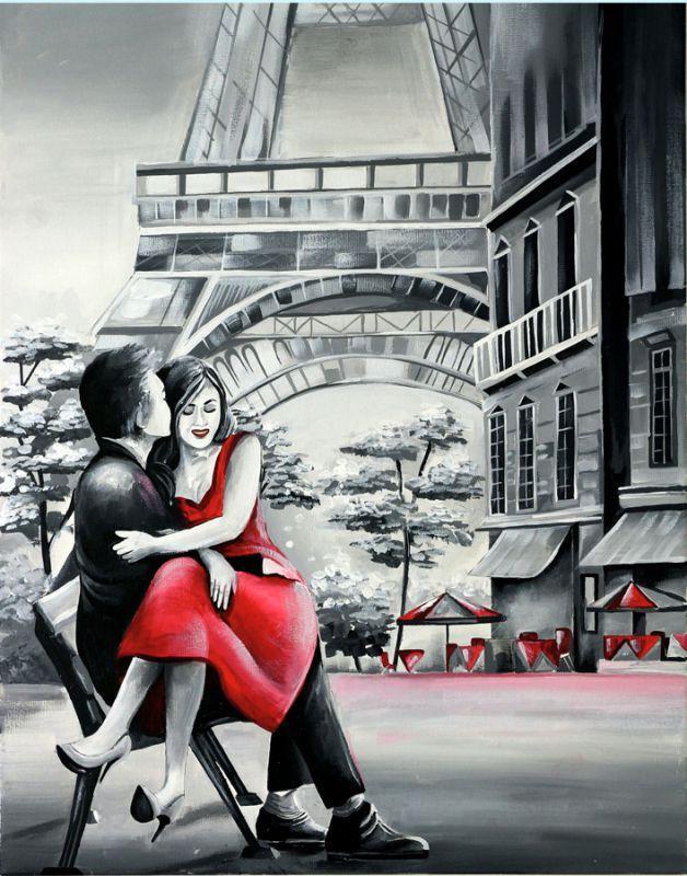 Набор картина по контуру Rosa Start акриловая живопись Влюбленные 35x45см (4823098507680)