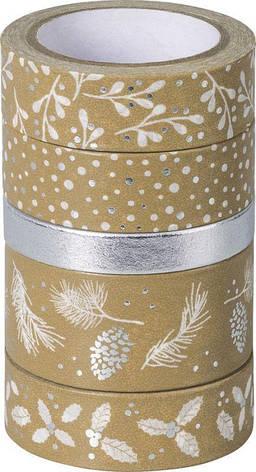 Набор бумажных скотчей ''Крафт'', серебристый/белый, 5шт, Heyda, фото 2