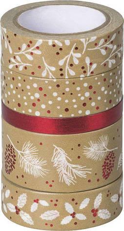 Набор бумажных скотчей ''Крафт'', красный/белый, 5шт, Heyda, фото 2