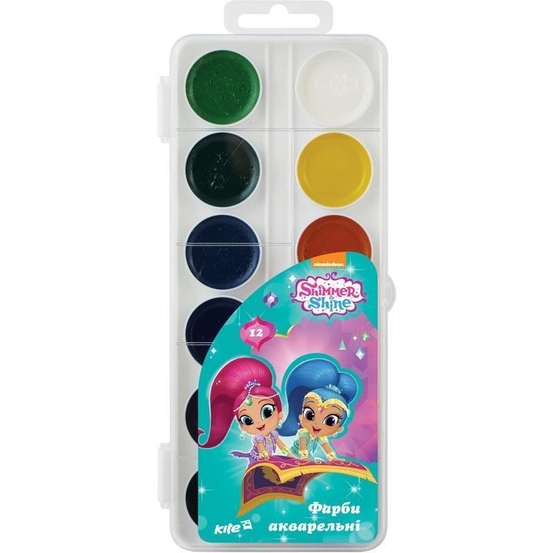 Краски акварельные 12 цветов Shimmer&Shine Kite SH18-061