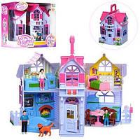 Будиночок 20-24-16см, меблі, фігурки, собачка, в коробці, 27-26-18см