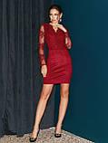 Вечернее платье-футляр с кружевным верхом и длинным рукавом, фото 6