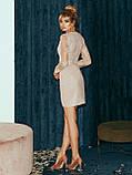 Вечернее платье-футляр с кружевным верхом и длинным рукавом, фото 10
