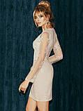 Вечернее платье-футляр с кружевным верхом и длинным рукавом, фото 9