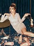 Вечернее платье-футляр с кружевным верхом и длинным рукавом, фото 7