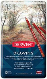 Набір олівців для рисунку Drawing, 12шт., мет. коробка, Derwent