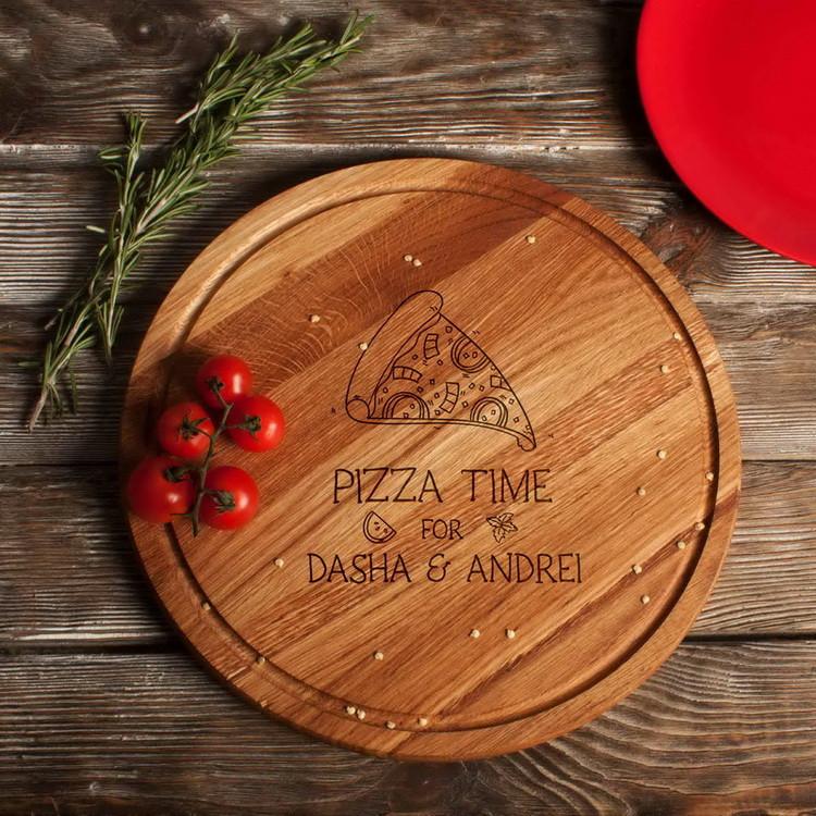 """Доска для нарезки """"Pizza time"""" 35 см именная"""