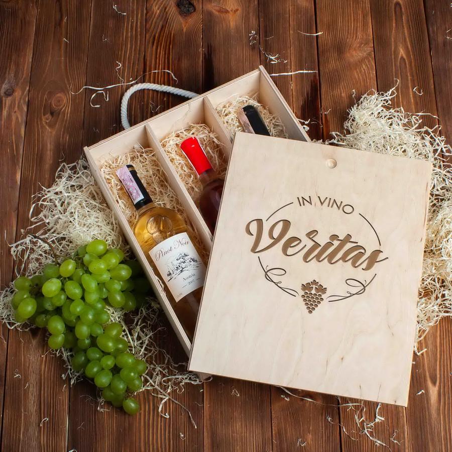 "Коробка для вина на три бутылки ""In vino veritas"""