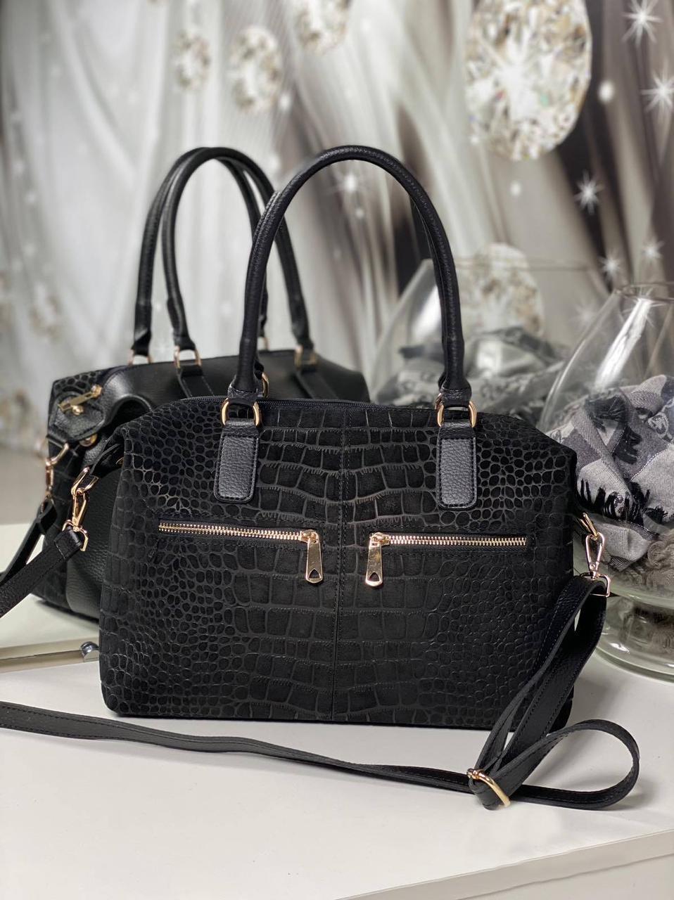 Большая замшевая женская сумка черная стильная городская натуральная замша+кожзам