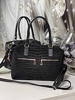 Большая замшевая женская сумка черная стильная городская натуральная замша+кожзам, фото 1