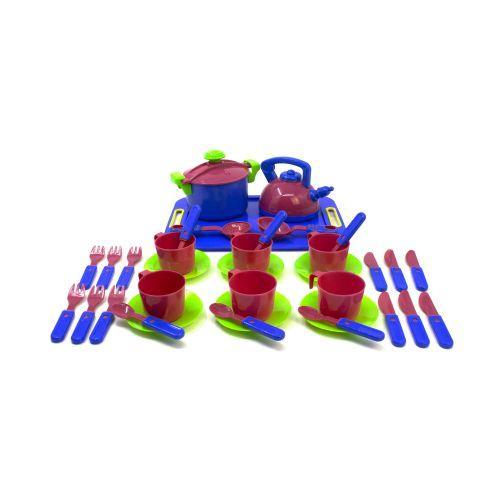 Посуда , 36 предметов, с подносом ( синий.