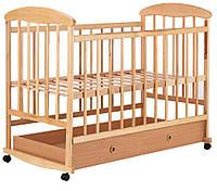 Детская кроватка Наталка ОСЯ с ящиком ольха светлая